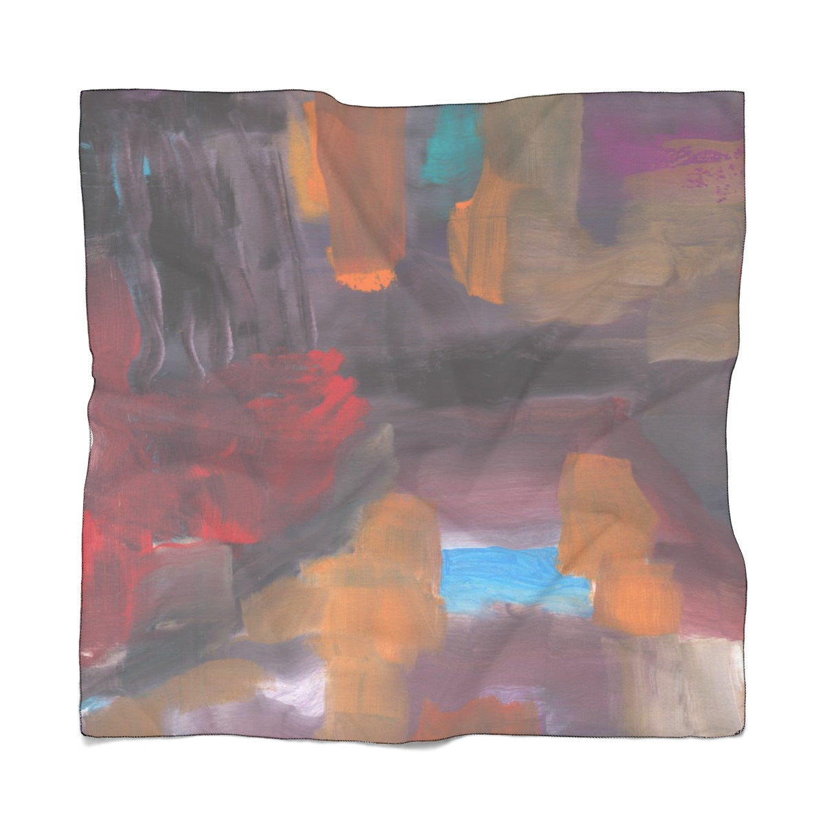 "CAVE VIEW Poly CHIFFON  Scarf   25"" x 25"""