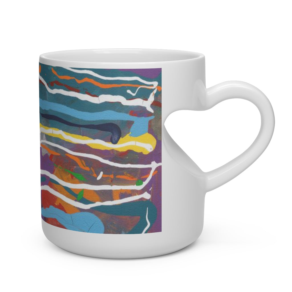 MARDI GRAS  Heart Shape Mug  11oz.