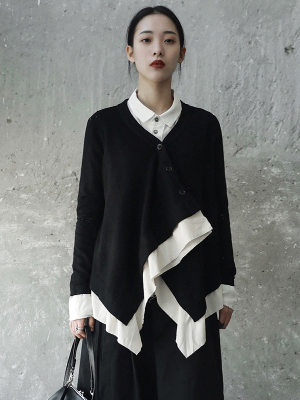 Cropped False-two Sweater Tops