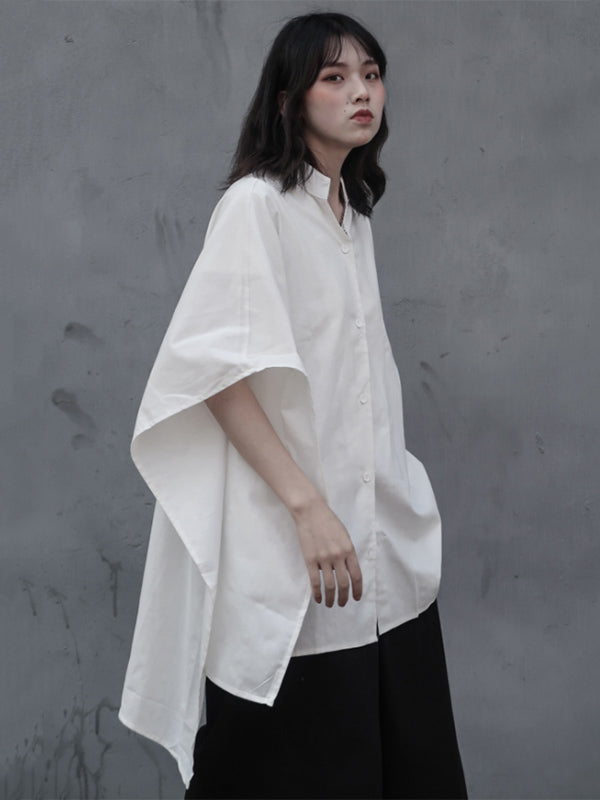 White Asymmetric Stand-collar Blouse