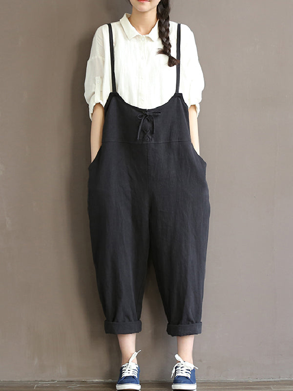 Black Lace-up With-pockets Jumpsuits