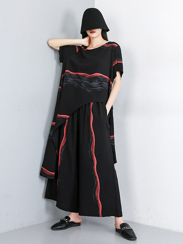 Original Printed T-Shirt + Asymmetric Wide Leg Pants Suit