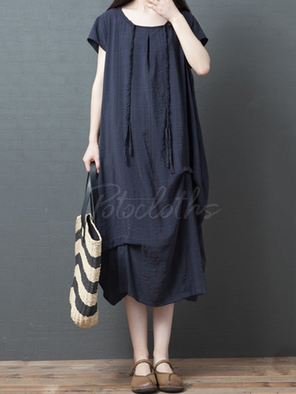 Casual Solid Ruffled Round-neck Midi Dress