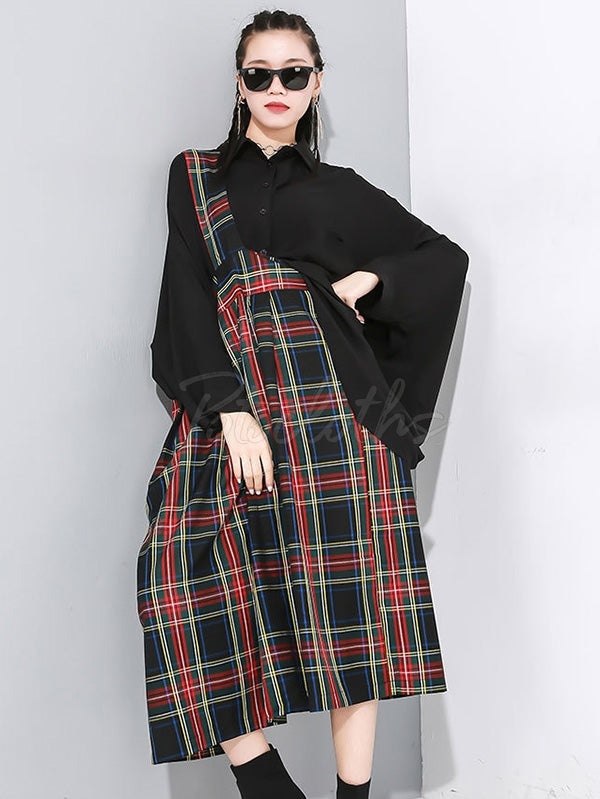 One-Shoulder Plaid Large Slip Dress