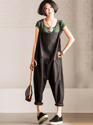 2 Colors Vintage Loose Linen Jumpsuits