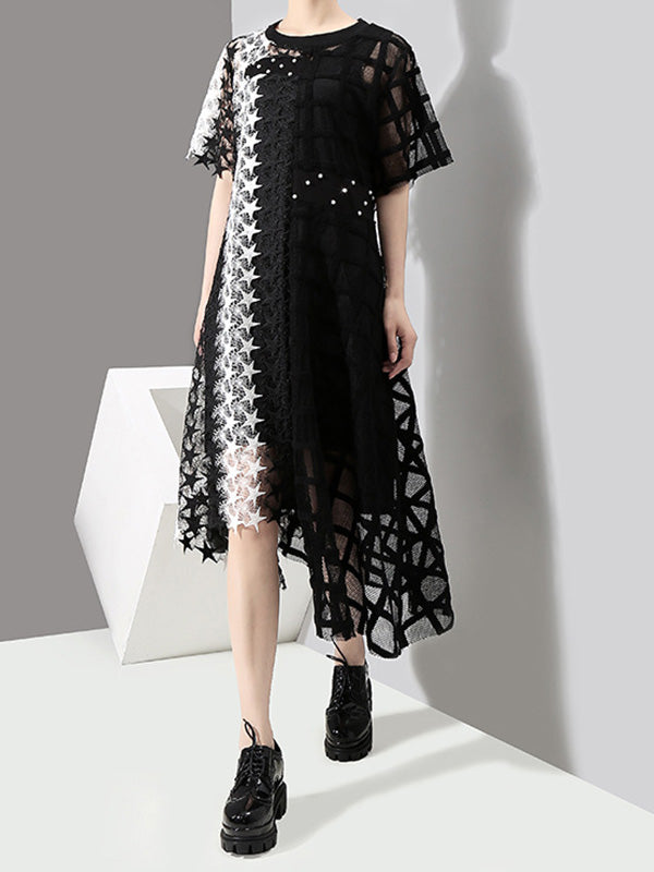 Loose Split-joint Irregular Long Dress