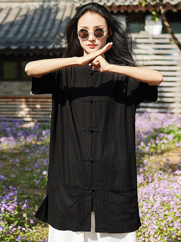 National Style Cotton Long T-shirt
