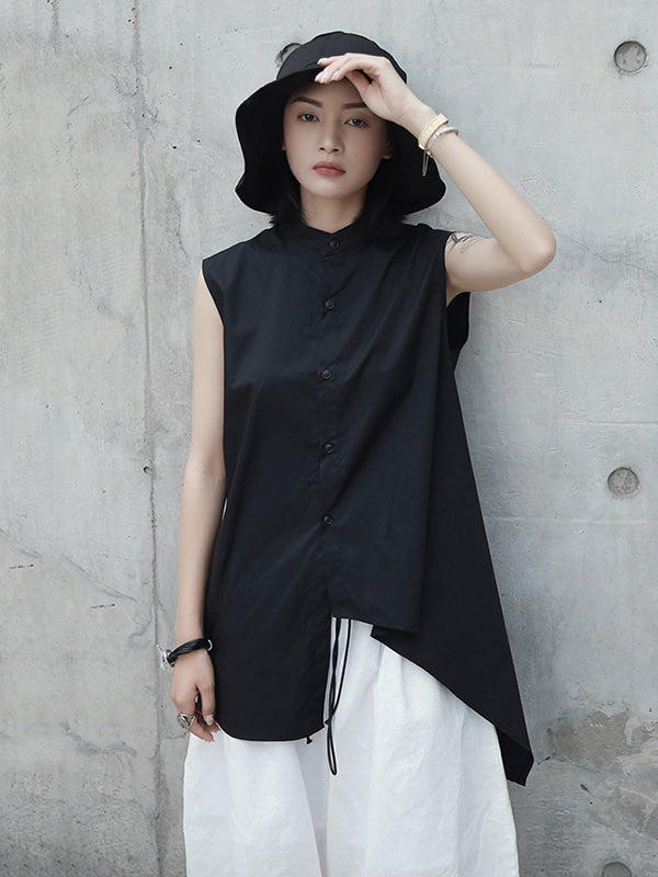 Black Cropped Stand Collar Sleeveless Blouse