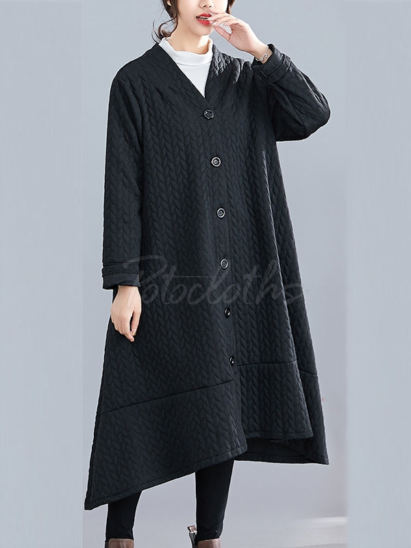 Loose Thick Mid-Length Knit Coat