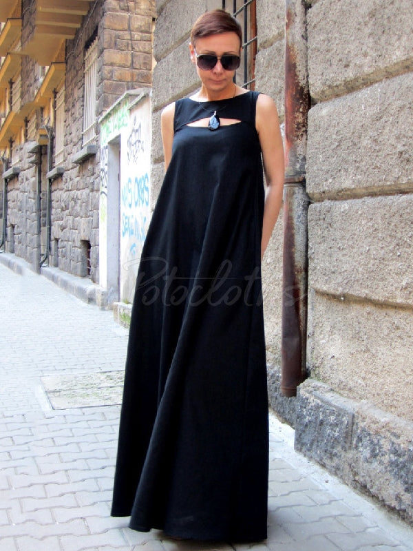 Solid Split-joint Sleeveless Maxi Dress