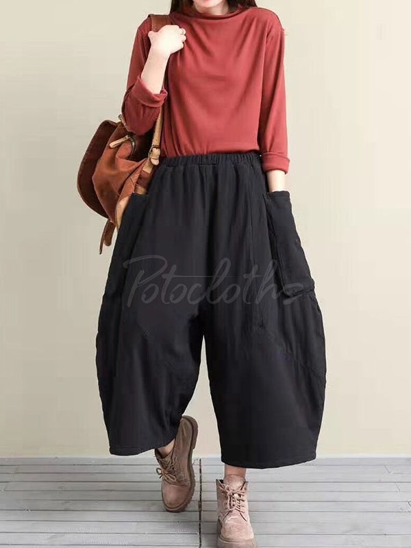 Retro Elastic Waist Thickening Wide-Leg Pants