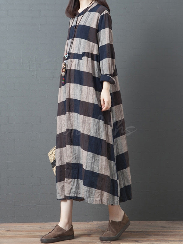 Casual Striped Long Dress