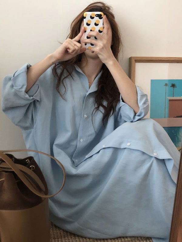 Chic Loose Long Shirt Dress
