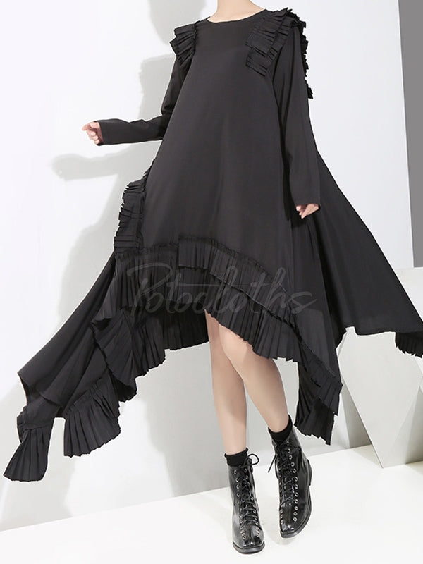 Loose Cropped Ruffles Long Dress