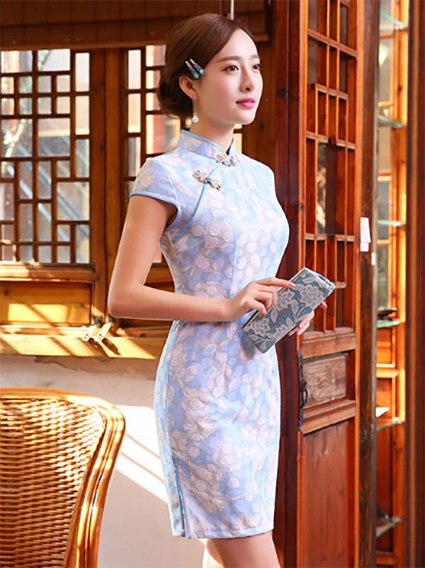 Light Blue Lace Stand Collar Short Cheongsam