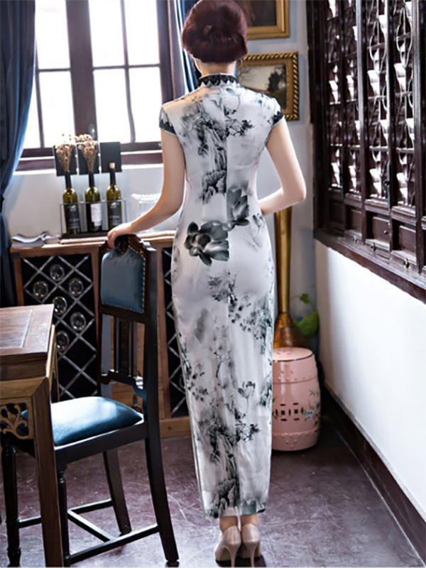 Lacy Ink&Lotus Print Long Cheongsam Dress