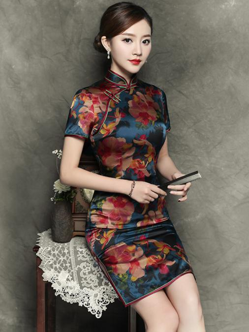 Elegant Flower Short Slim Cheongsam Dress