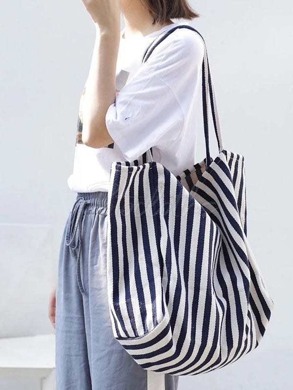 Simple Striped Canvas Shoulder Bag