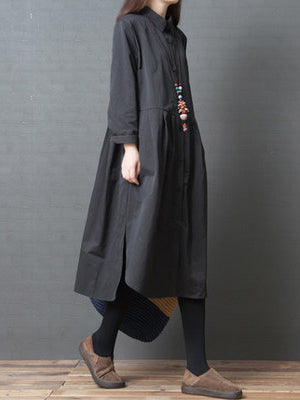 Plus Size Loose Solid Black Split-side Long Sleeves Dress
