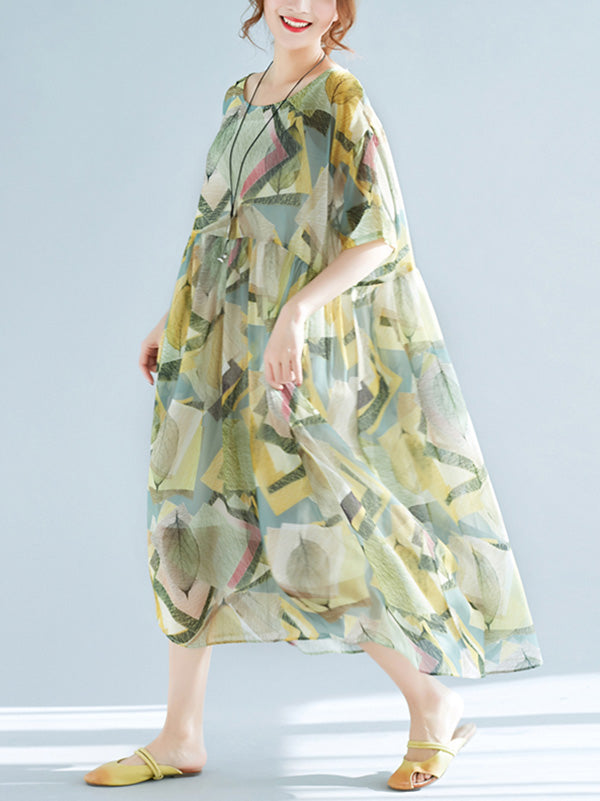 Light Green Loose Chiffon Printed Long Dress+Jumper skirt