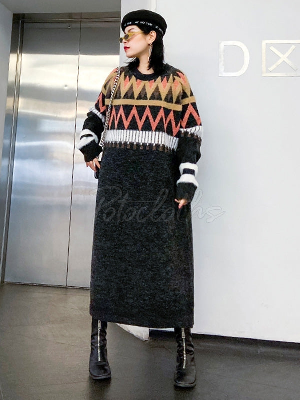 Loose Printed Round-Neck Knitting Sweater Dress