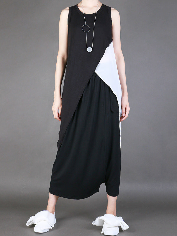 Black&White Split-joint Round-neck Sleeveless T-shirt