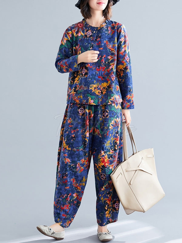 Loose Retro Floral Printed Blouses and Pants Suits