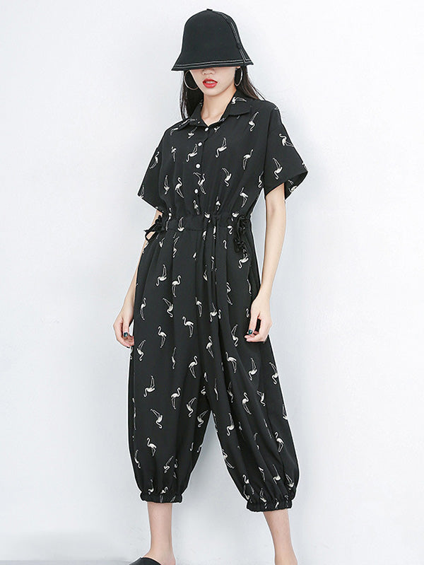 Loose Black Lace-up Jumpsuits