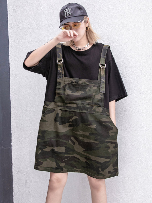 False-two Split-joint Camouflage Dress