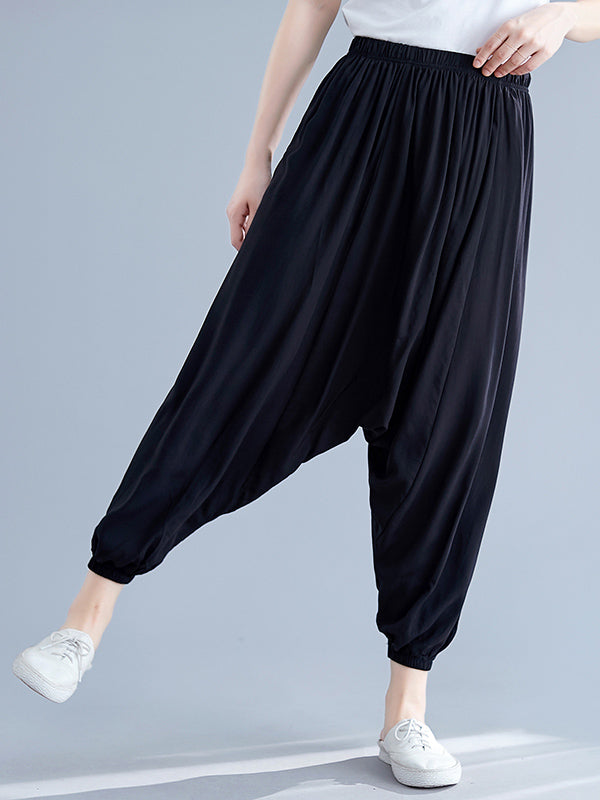 Solid Elastic Waist Design Pants