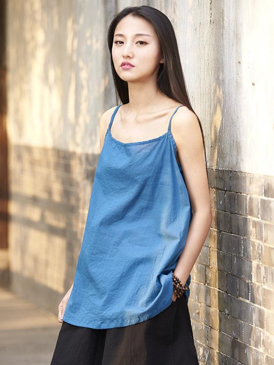 Spaghetti-neck Solid Color Ramie Cotton T-shirt