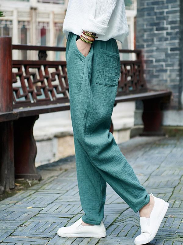 Comfortable Green Ramie Cotton Casual Pants