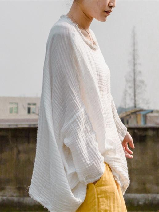 White Fringed Cotton T-shirt