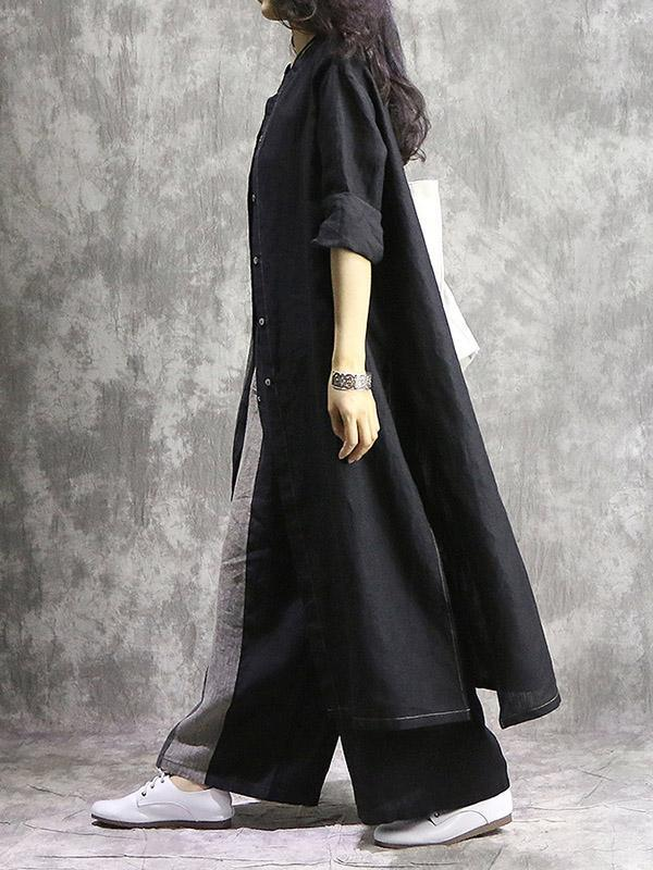 Vintage Split-joint Long Blouse&Pants Suit