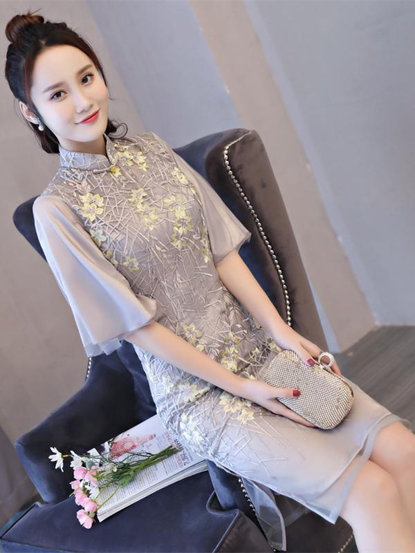 Lace Embroidered Flared Sleeves Short Cheongsam