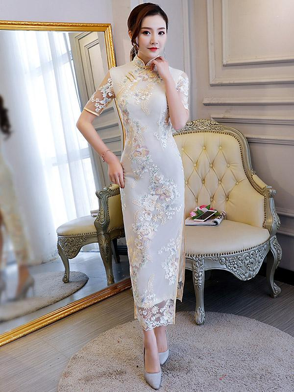 Embroidered Stand Collar Long Cheongsam Dress