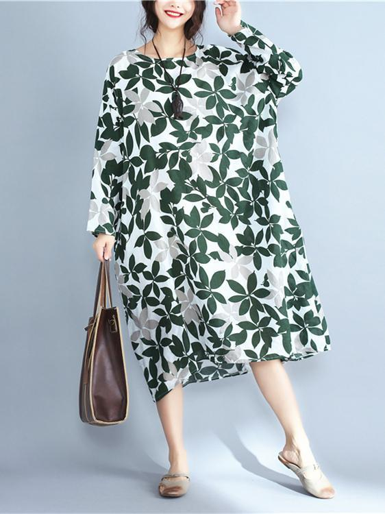 Leaves Print Ramie Cotton Long Dress