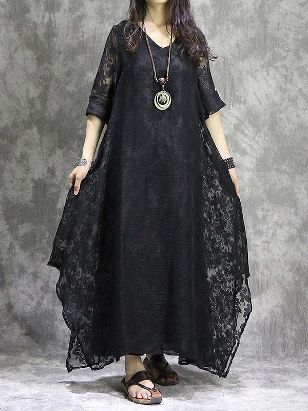 Black False-two Hollowed Pure Maxi Dress