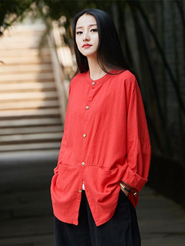 Soft Red Ramie Cotton Blouse Outwear