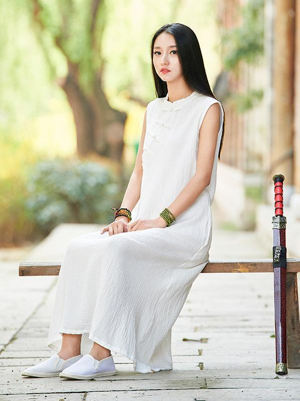 White Ramie Cotton Sleeveless Linen Dress