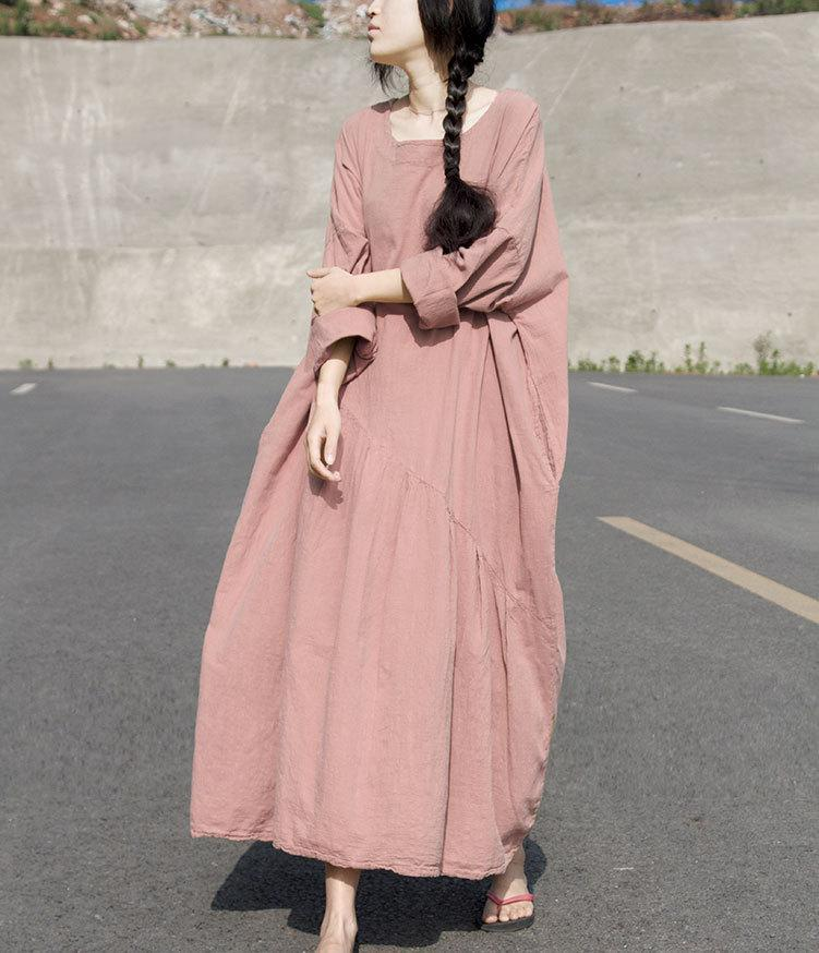 Loose Pure Color Split-joint Ruffled long Dress