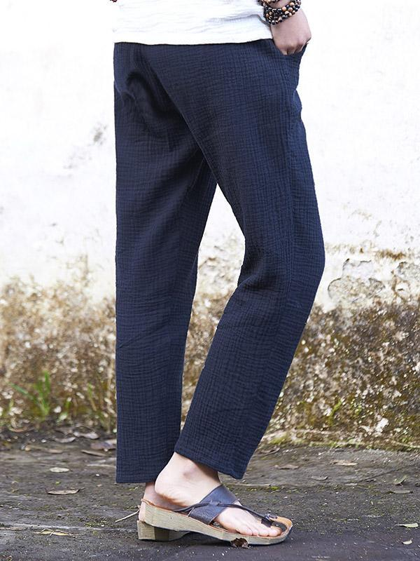 Simple Comfortable Linen Straight-leg pants