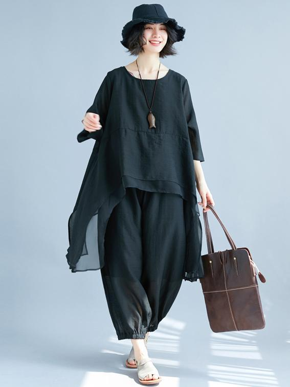 Black Loose Comfotable Cotton Suits