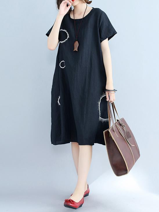 Irregularity Circle Cotton Shirt Dress