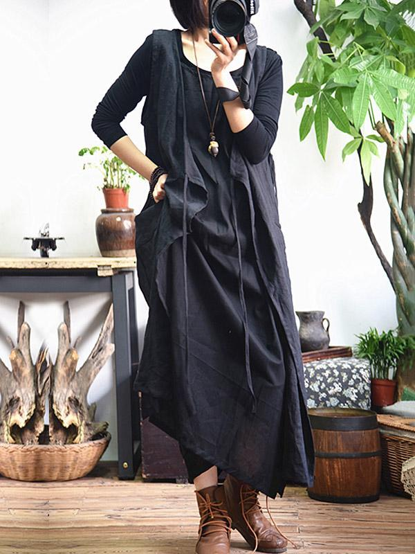Pure Color Loose Comfortable Sleeveless Long Dress