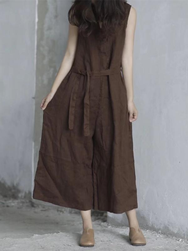 Pure Color Loose Comfortable Lace up Cotton Jumpsuit