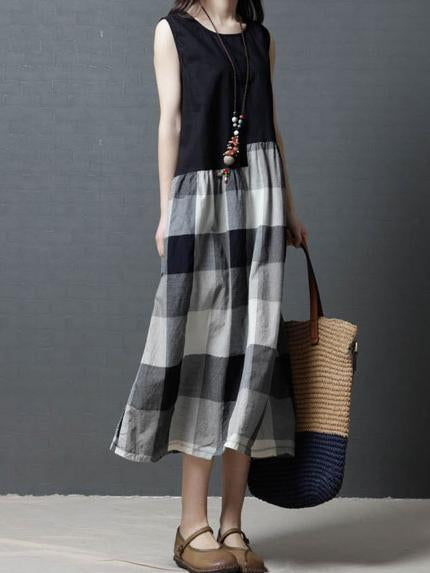 Plaid Loose Comfortable Split-joint Long Dress