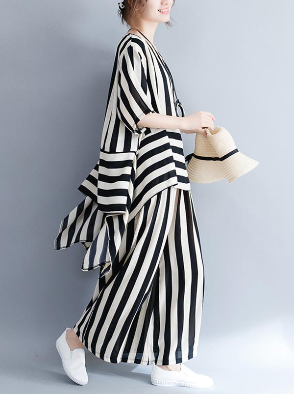 Loose Striped Asymmetric T-shirts+Pants Suit