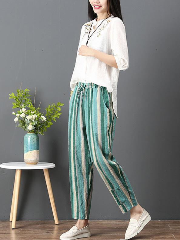 Loose Corlorful Stripe Lace-up Pants