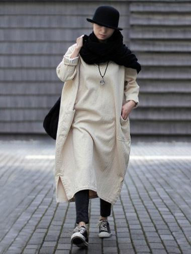 Casual Linen Cotton Manual strike Long Robe